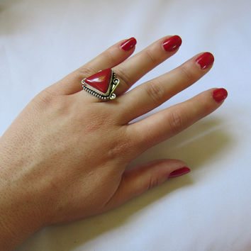 Silver Plated Stone Ring - Red Triangle