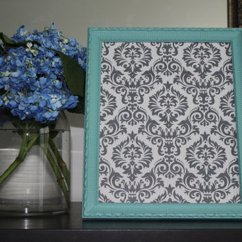 Decorative aqua 8 x 10 picture frame - Green decor, painted frame, upcycled frame