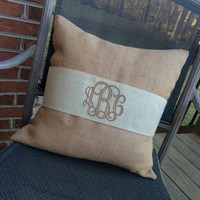 Monogram Natural Burlap Pillow Cover with IVORY Pillow Wrap  Font shown INTERLOCKING in khaki