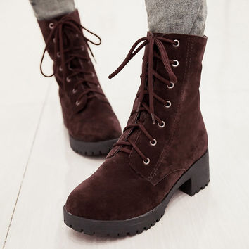 PU Round Toe Middle Block Heel Lace Up Short Boots
