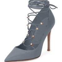 Rockstud Leather Lace-Up 105mm Pump, Stone/Poudre