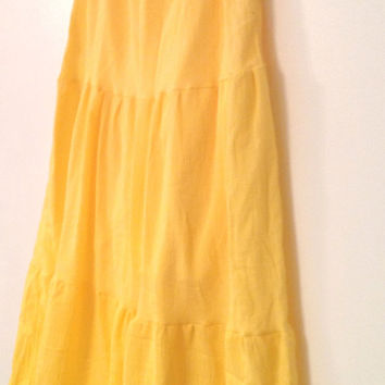 Long Tiered Boho Skirt - Hippie Yellow Summer Cotton Gauze Skirt