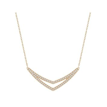 Swarovski Clear Crystal Necklace ALPHA Medium Rose Gold #5210287