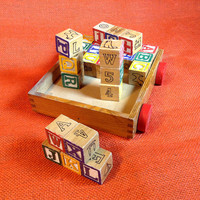 Old Vintage Pull Toy Cart with Wood Blocks - All Wood Box Joint Construction - Unmarked Unknown Maker