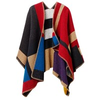 Burberry Prorsum Color-Block Blanket Poncho - Wool Poncho - ShopBAZAAR