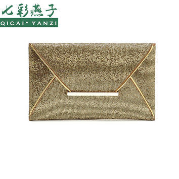 2016 New Hot Of Hand Package Women Fashion Sequins Envelope Bag Personality Clucth Purse Leather Top Quality P344