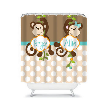 MONKEY Shower Curtain Boy Girl Sister Brother Jungle Brown Polka Dot CUSTOM You Choose Colors Bathroom Bath USA