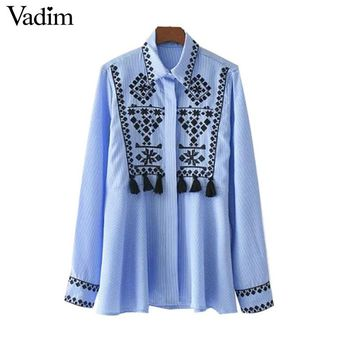 floral embroidery striped shirts fringe geometric long sleeve retro blouse female tops