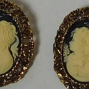 Cameo Brooch, 2 pc, Black Background, Cameo Choker, Sisters, Best Friend, Sister Brother, Boy Girl, Man Woman, Large, Antiqued Gold Tone,