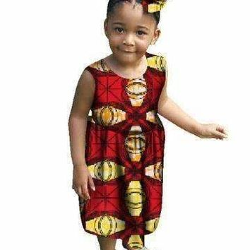 African Clothing Limited Direct Selling Cotton Print Girls Dress