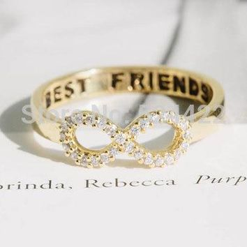Min 1pc Crystal Rhinestone best friend letter gold/silver/rose gold infinity rings,eternity rings JZ023