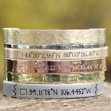 Custom Coordinate Cuff Bracelet, Location Jewelry, GPS Bracelet