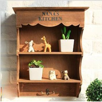 Zakka Vintage Style Wooden Storage Rack Wall Shelf 2 Layers Wall Hanging Cabinet Storage Box Home Decoration W1090