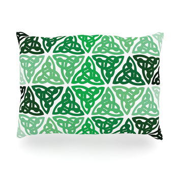 "KESS Original ""Celtic Knot Green"" Forest Mint Oblong Pillow"