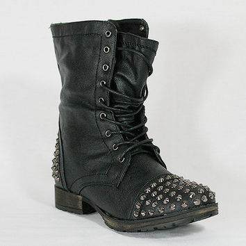 BLACK Women's Studded Spike Lace Up Military Mid Calf Combat Boots Size 5.5 - 11