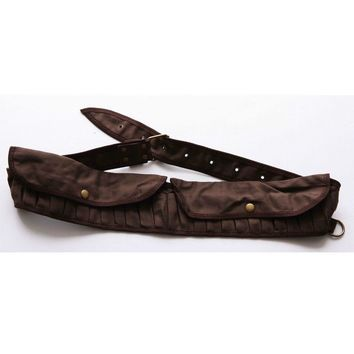 Brown Canvas Shortgun Ammo Belt Tactical Hunting Bullet Belt Shell Carrier Bandolier 25 Holes 51''