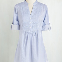Nautical Long Short Sleeves Back Road Ramble Tunic in Blue Stripes