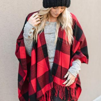 Buffalo Plaid Fringe Ruana - Red