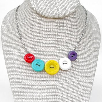 Colorful Vintage Button Necklace, Bright Necklace, Fun Necklace, Colorful Necklace, Repurposed Necklace, Button Jewelry, Colorful Jewelry