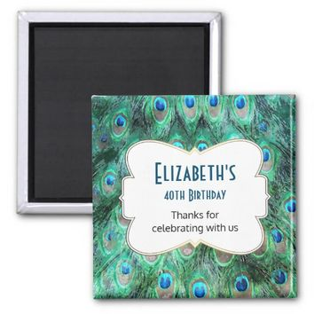 Wild Peacock Feathers Personalized Birthday Favor 2 Inch Square Magnet