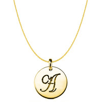 """A"" 14K Yellow Gold Script Engraved Initial Disk Pendant"