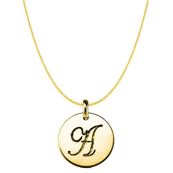 """""""A"""" 14K Yellow Gold Script Engraved Initial Disk Pendant"""