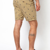 ASOS Chino Shorts With Flamingo Embroidery