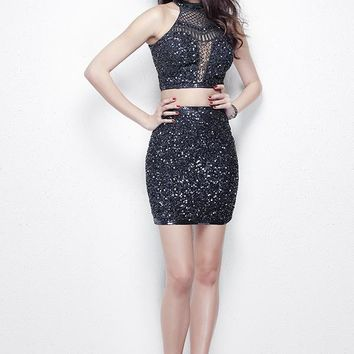 Primavera Couture - Sequined High Illusion Teardrop Cutout Cocktail Dress 1313