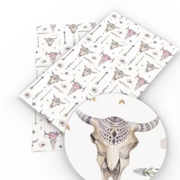 Tribal bison skull floral crown & arrows faux leather fabric sheet