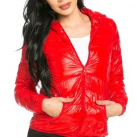 Hooded Bubble Jacket in Red