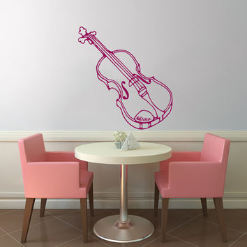Violin Instrument Vinyl Decal Wall Sticker Art Design Kitchen Cafe Room Nice Picture Bedroom Home Decor Hall ki201