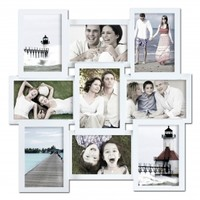 Adeco Decorative White Wood Wall Hanging Collage Basket-Weave Picture Photo Frame, 9 Openings, 4x6""