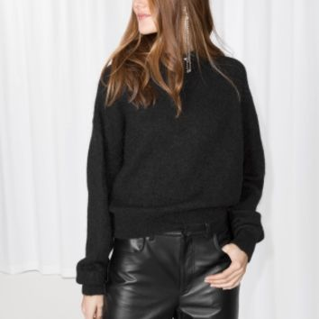 & Other Stories | Mohair And Wool Blend Fuzzy Sweater | Black