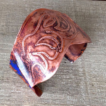Flamed copper cuff bracelet, hammered etched textured flamed handforged wide band, medieval abstract patterned torch fired enamel blue