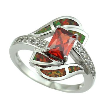 HAIMIS Free Gift Box 2017 Hot Sale Synthetic Brown Fire Opal Stones Garnet Fashion Jewelry Women Opal Rings Size 6 7 8 9 OR844