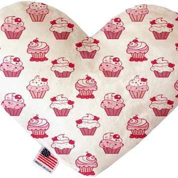 Pink Whimsy Cupcakes 6 inch Heart Dog Toy