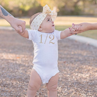"Silver or Gold 1/2 Birthday Onesuit CAKE SMASH OUTFIT Baby Girl 1/2 Birthday Photo Prop Photography 6 months Birthday ""1/2"" Bodysuit Half"