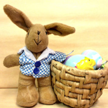 Vintage Plush Bunny, Rabbit  with Basket,  stuffed,  Easter Bunny ,Easter decor,Spring Decor