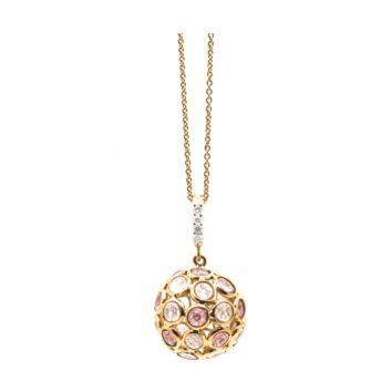 Tresor Collection - Origami Rainbow moonstone, Pink Tourmaline & Diamond Sphere Ball Pendant in 18k Yellow Gold