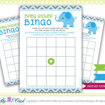Elephant Bingo Game for Baby Shower, Blue Chevron Card for a boy Elephant baby shower. Elephant on ball green, blue,grey, star-oz01