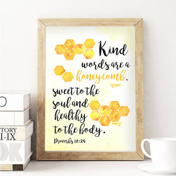 Watercolor Beecomb Honey Bee Bible Verse quotes print nursery printable download digital file wall print art room decor bible prints