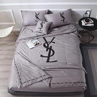 Luxury YSL Designer Home Blanket Quilt coverlet 2 Pillows Shams 4 PC Bedding Set