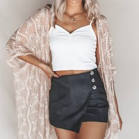 Highway Miles Black Suede Button Skort