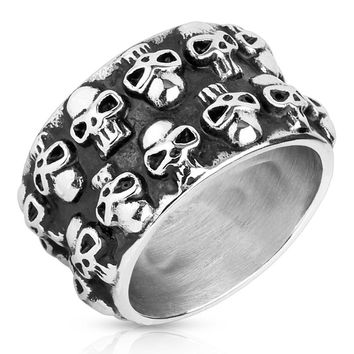 DOUBLE UP SKULLS RING