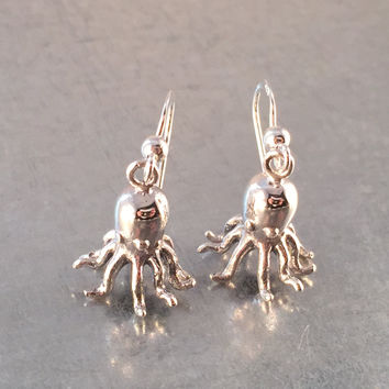 Octopus Earrings, Octopus Jewelry, Sterling Silver Earrings, Sterling Silver Octopus, Steampunk, Gift Earrings, Holiday Gift