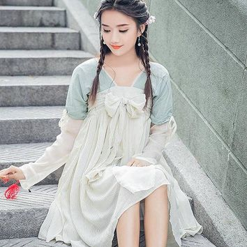 Chinese Vintage Style Girls One Piece Dress Long Sleeve Ruqun