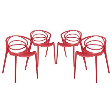 Locus Dining Set Set of 4 Red EEI-2336-RED-SET