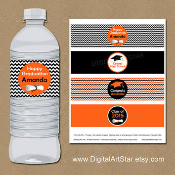 Chevron Graduation Water Bottle Labels with Diplomas - 2015 Graduation Party Printable Personalized Water Bottle Wrappers - Orange Black