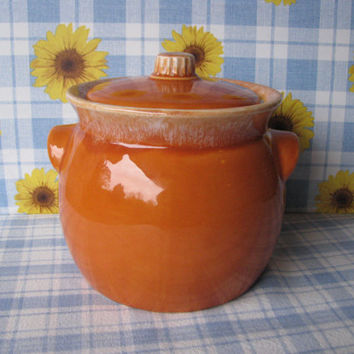 Hull Tangerine Bean Pot with Lid Drip Glaze Orange Pottery Vintage 1970's