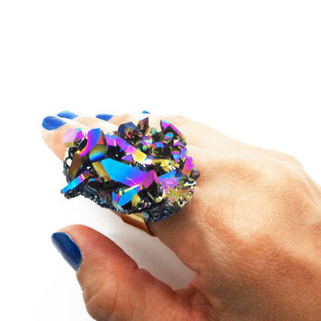 Huge Rainbow Aura Quartz Ring, Aura Crystal Cluster - Statement Ring - ASTRA